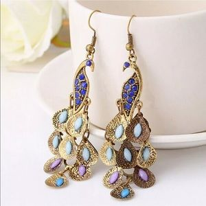 Jewelry - Peacock pierced dangle earrings NWT - gorgeous!